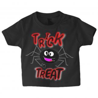 Baby Designer Halloween T Shirt Cute Spider Trick Or Treat Black Sizes 3-6 months, 6-12 months, 12-18 months, 18-24 months