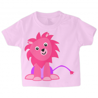 Baby T Shirt Cute Pink Lion Pale Pink 3-6 months, 6-12 months, 12-18 months, 18-24 months
