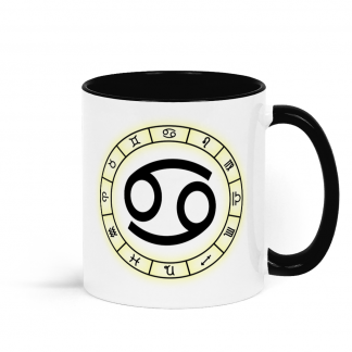 Zodiac star sign cup Cancer from the 21st June to 22nd July Black and White