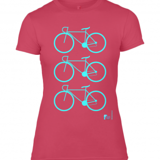 Designer Ladies T Shirt For Cyclists Red Sizes S 6/8 M 8/10 L 10/12 XL 12/14 XXL 14/16