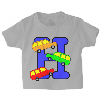 Designer Baby T Shirt Letter H With Cars Althetic Heather